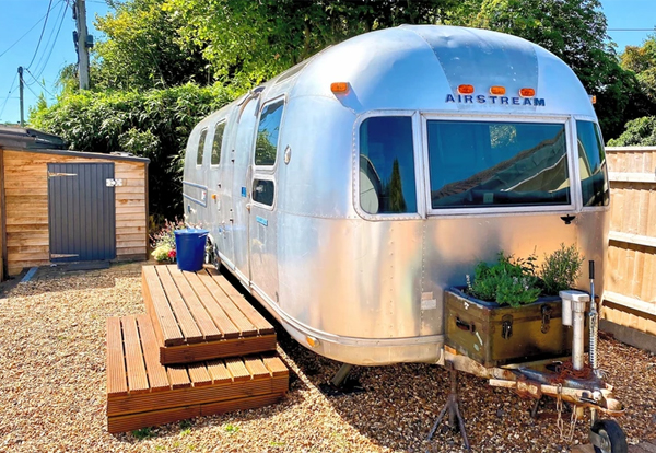 Vintage Airstream glamping in the New Forest